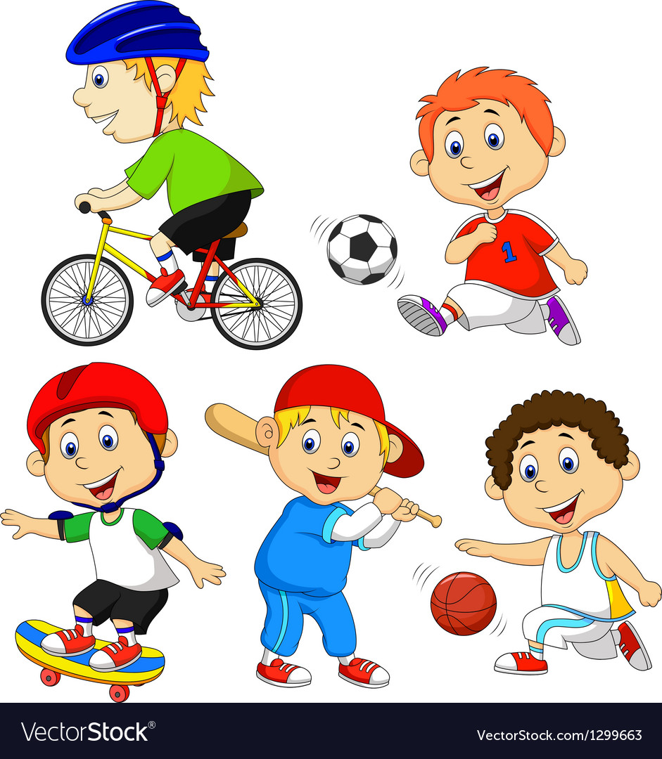 Funny boy cartoon character doing sport vector
