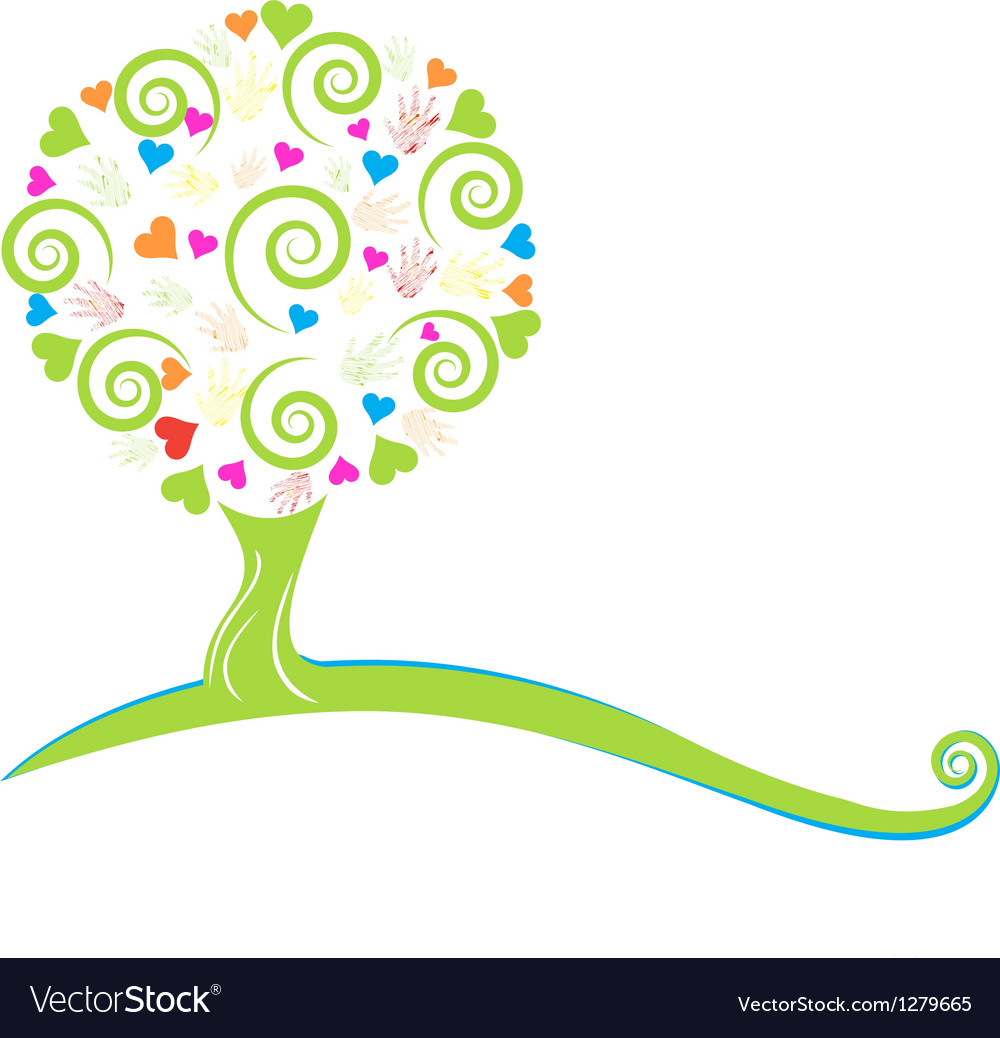 Tree hearts hands and swirly leaves logo vector