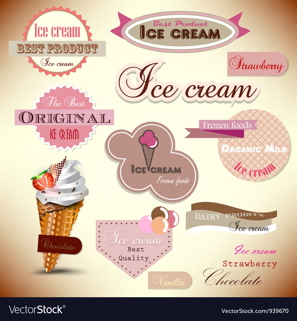 Set of vintage ice cream shop badges and labels vector