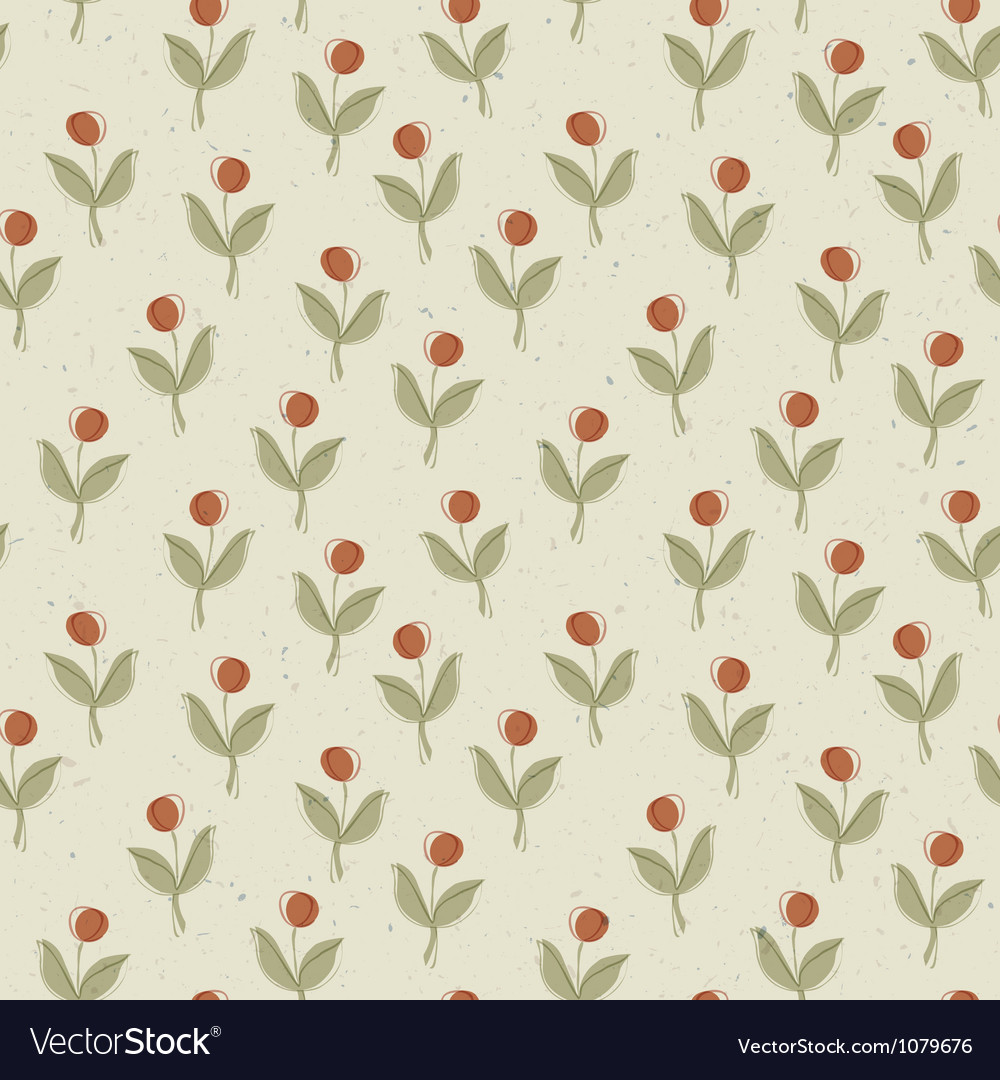 Abstract plant with red berry seamless pattern vector