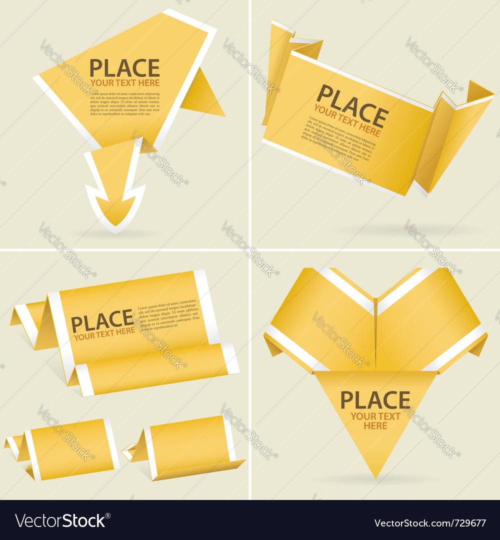 Origami banner element vector