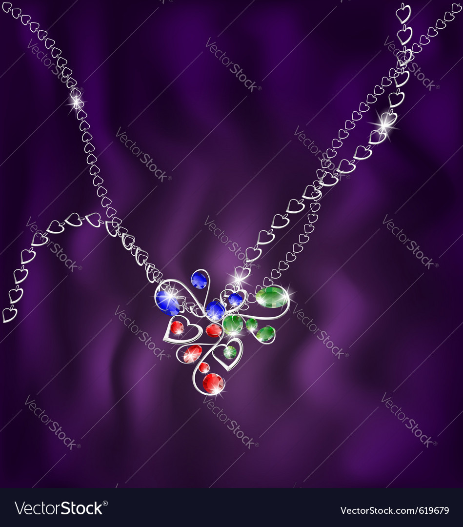 White chain and jewelry pendant vector