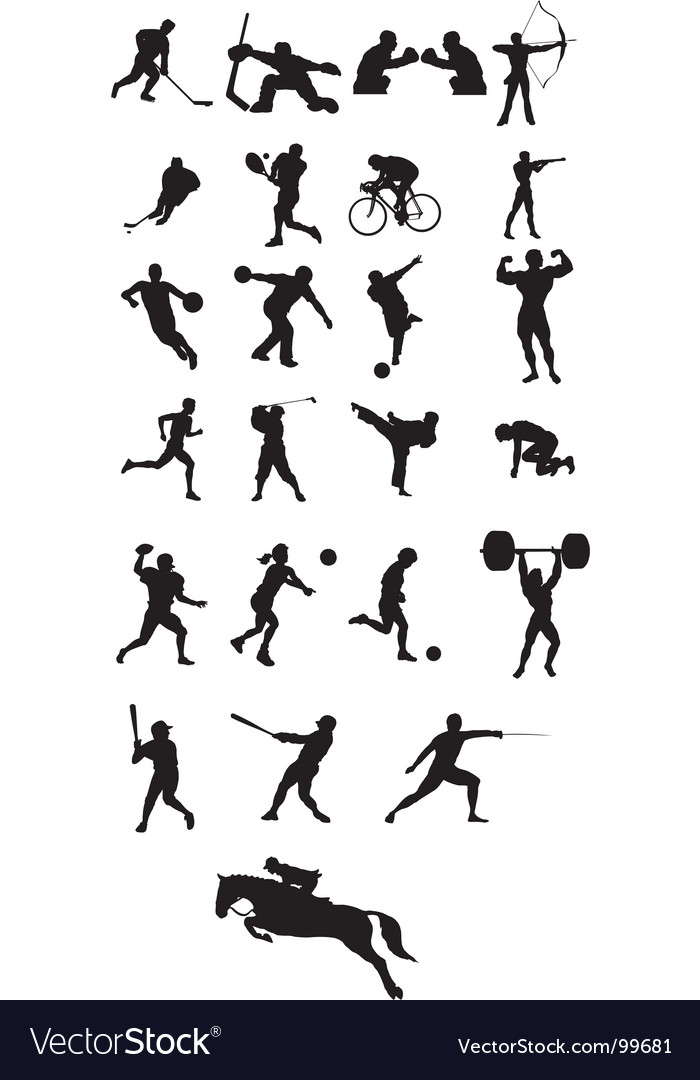 Sport icon silhouettes vector