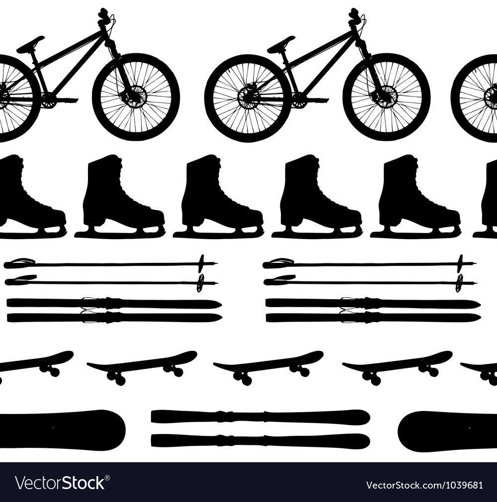 Sports equipment silhouette seamless pattern vector