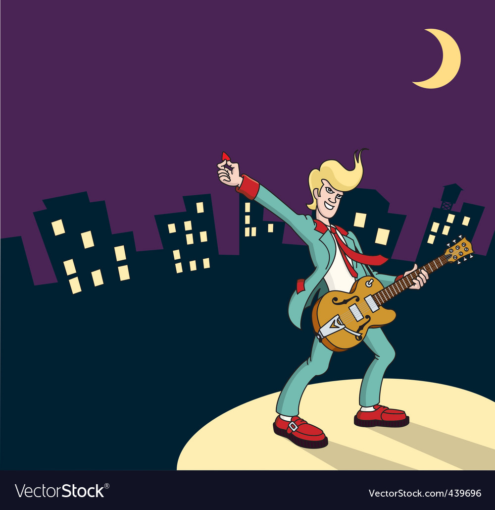 Rock and roll guitarist vector
