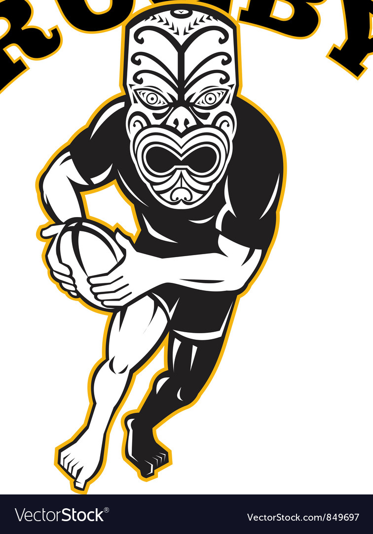Maori mask rugby player running with ball vector