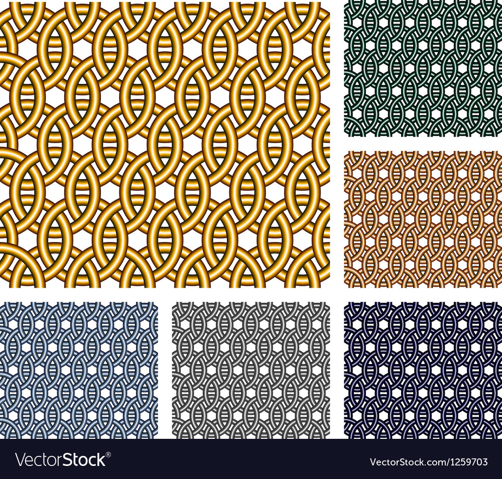 Entwined metal rings seamless patterns vector