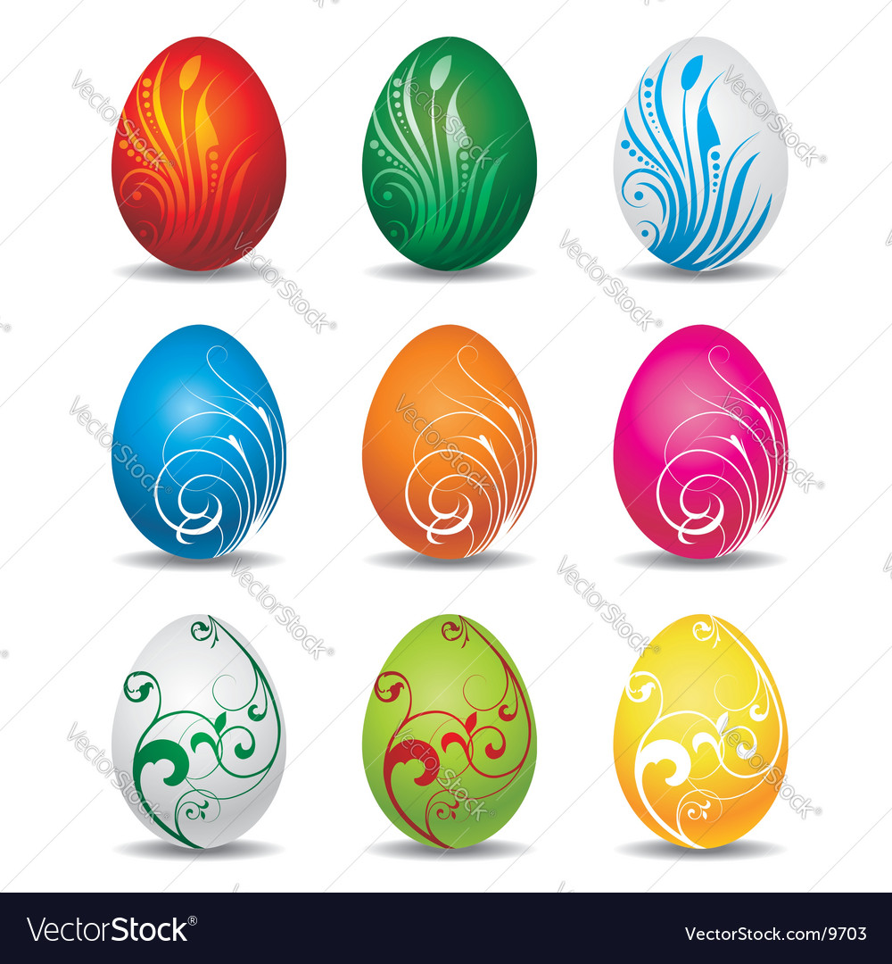 Nine color easter eggs collection vector