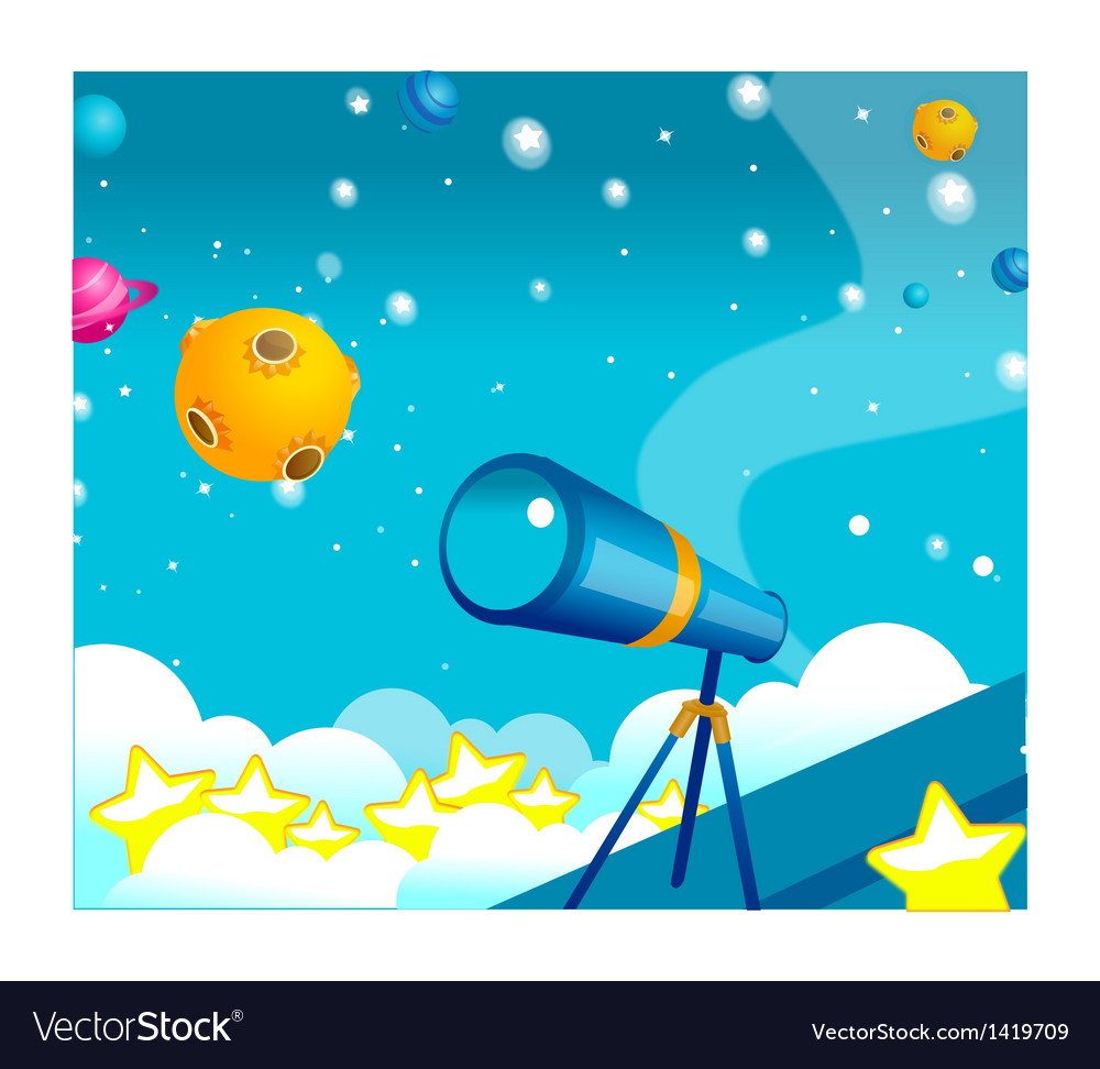 Telescope and planets vector