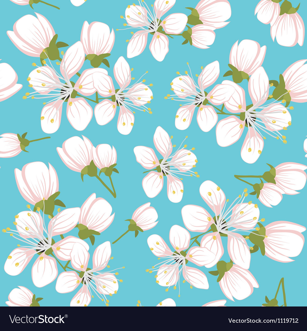 Seamless pattern with cherry blossoms vector