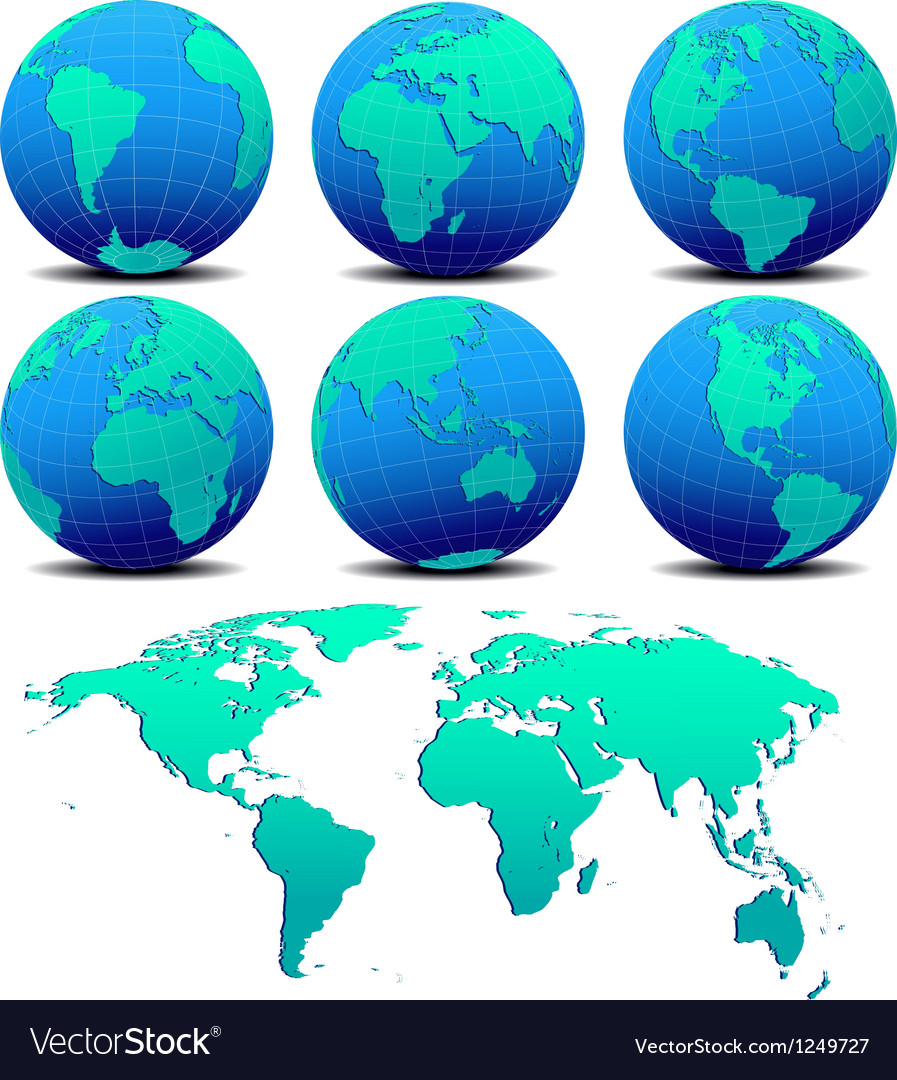 Six global worlds and world map - set one vector