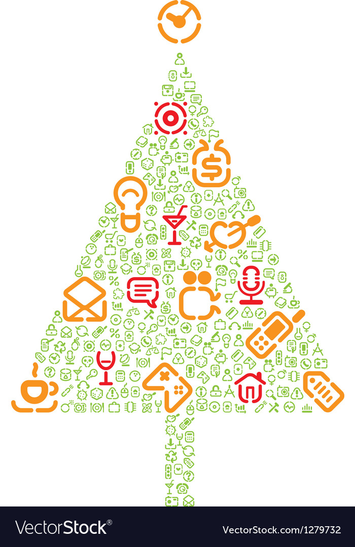 Christmas tree with gifts made of icons vector