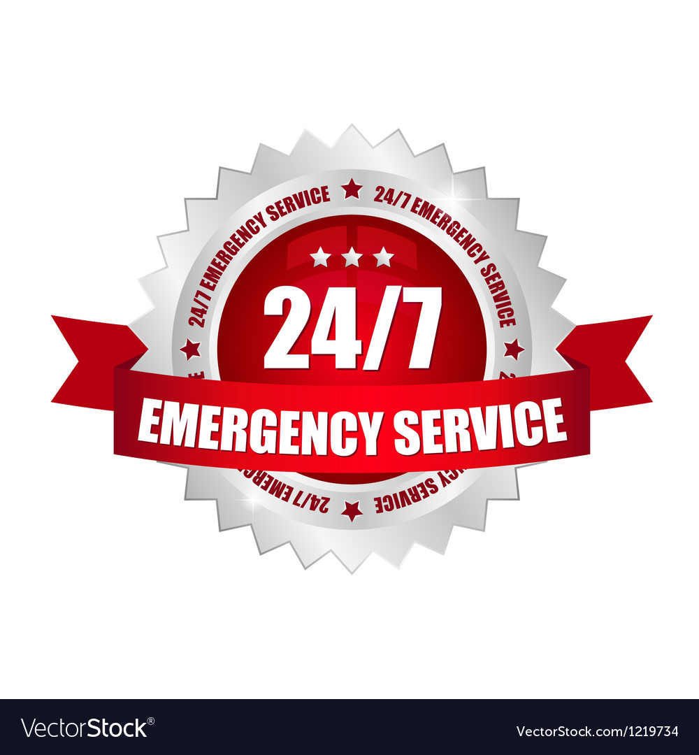 24-7 emergency service button vector