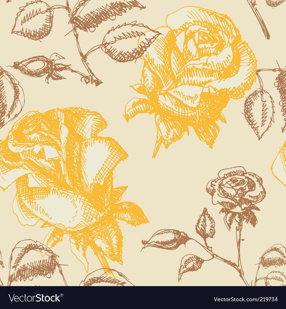 Yellow roses pattern vector