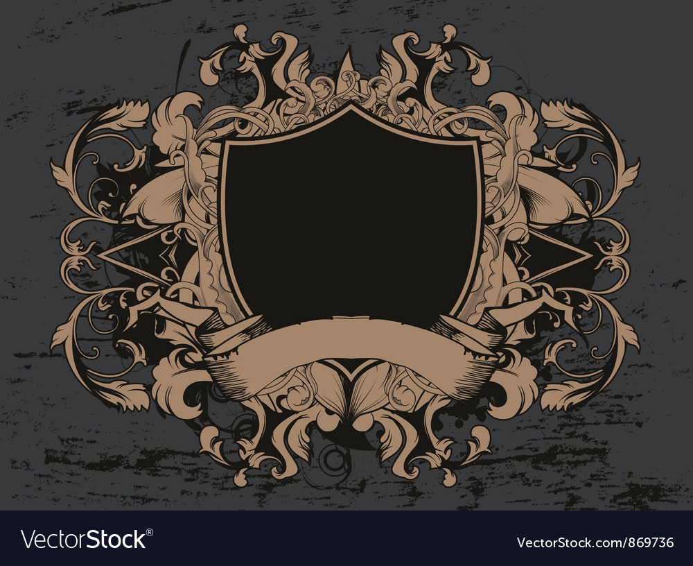 Shield with floral and grunge vector