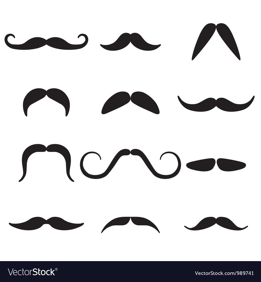Black mustaches set vector