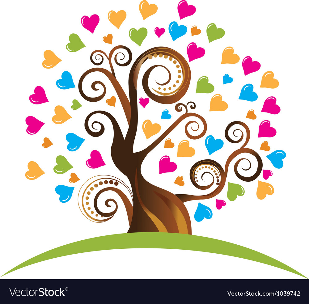 Tree with ornaments and hearts vector