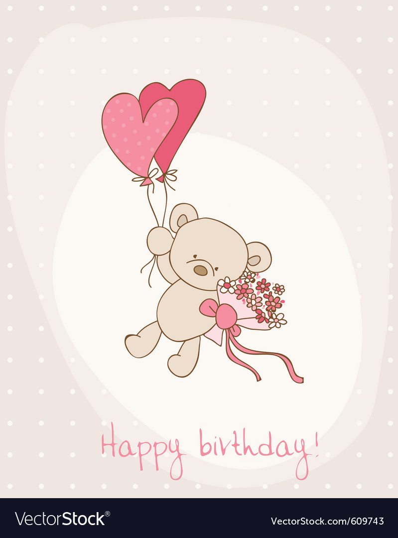 Greeting birthday card with cute bear vector by woodhouse84 - Image ...