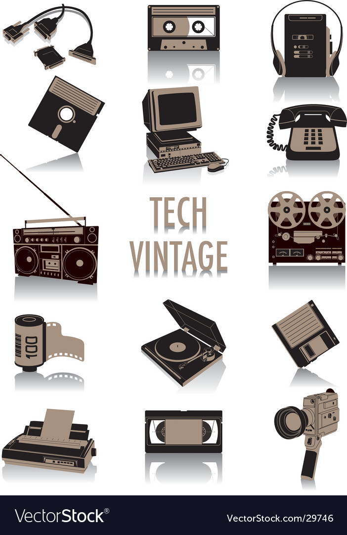 Tech-vintage silhouettes vector