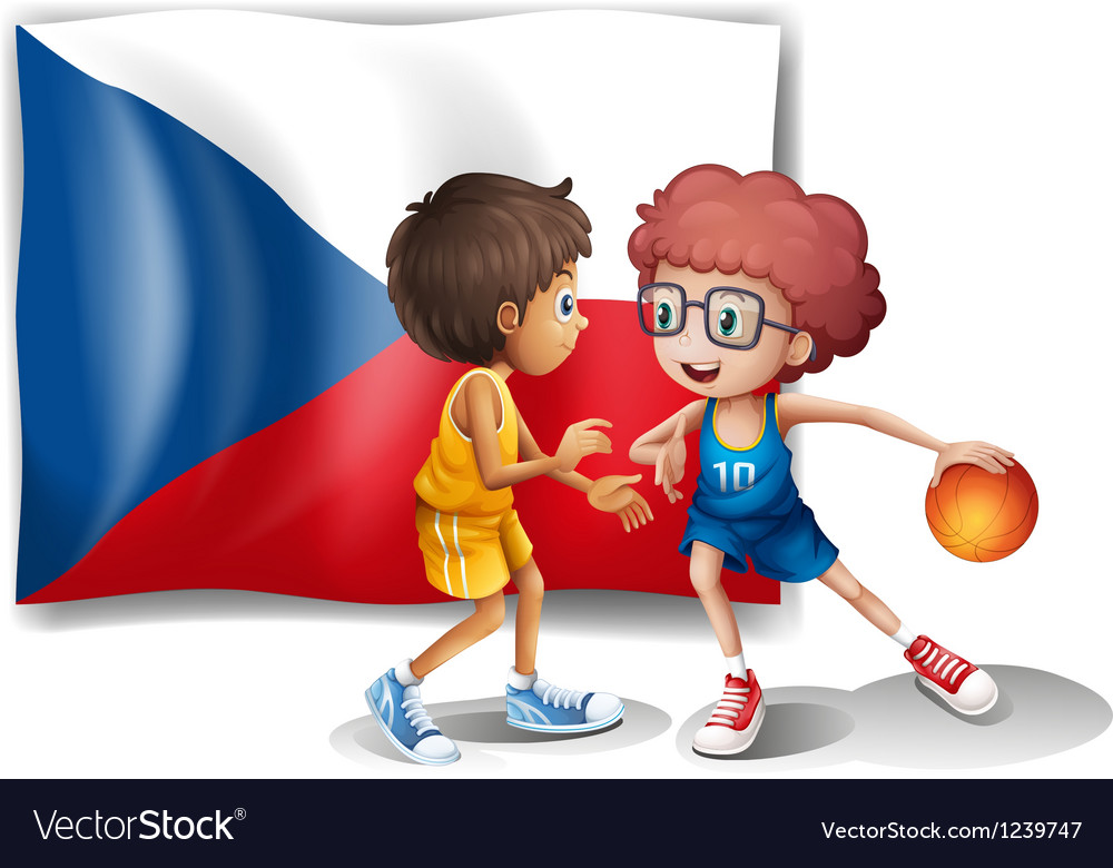Basketball players in front of the czech republic vector
