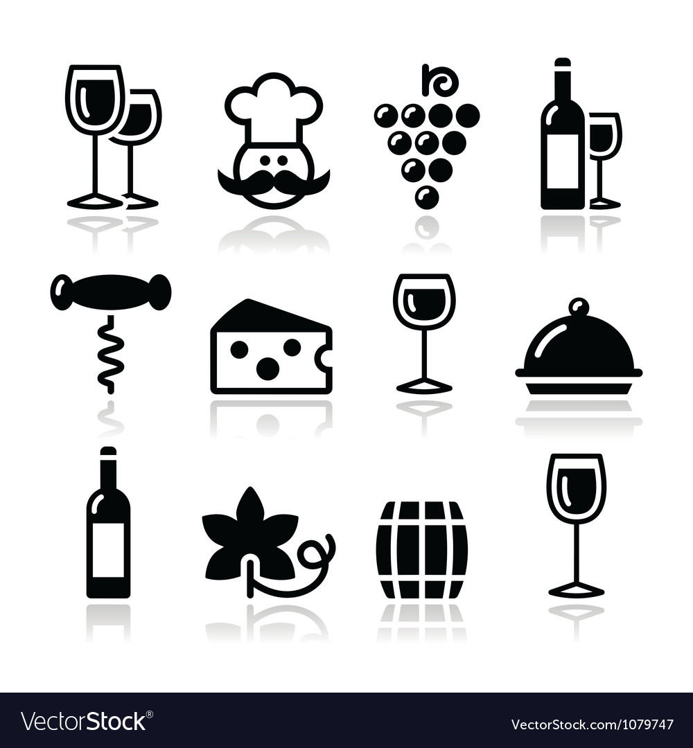 Wine icons set - glass bottle restaurant food vector