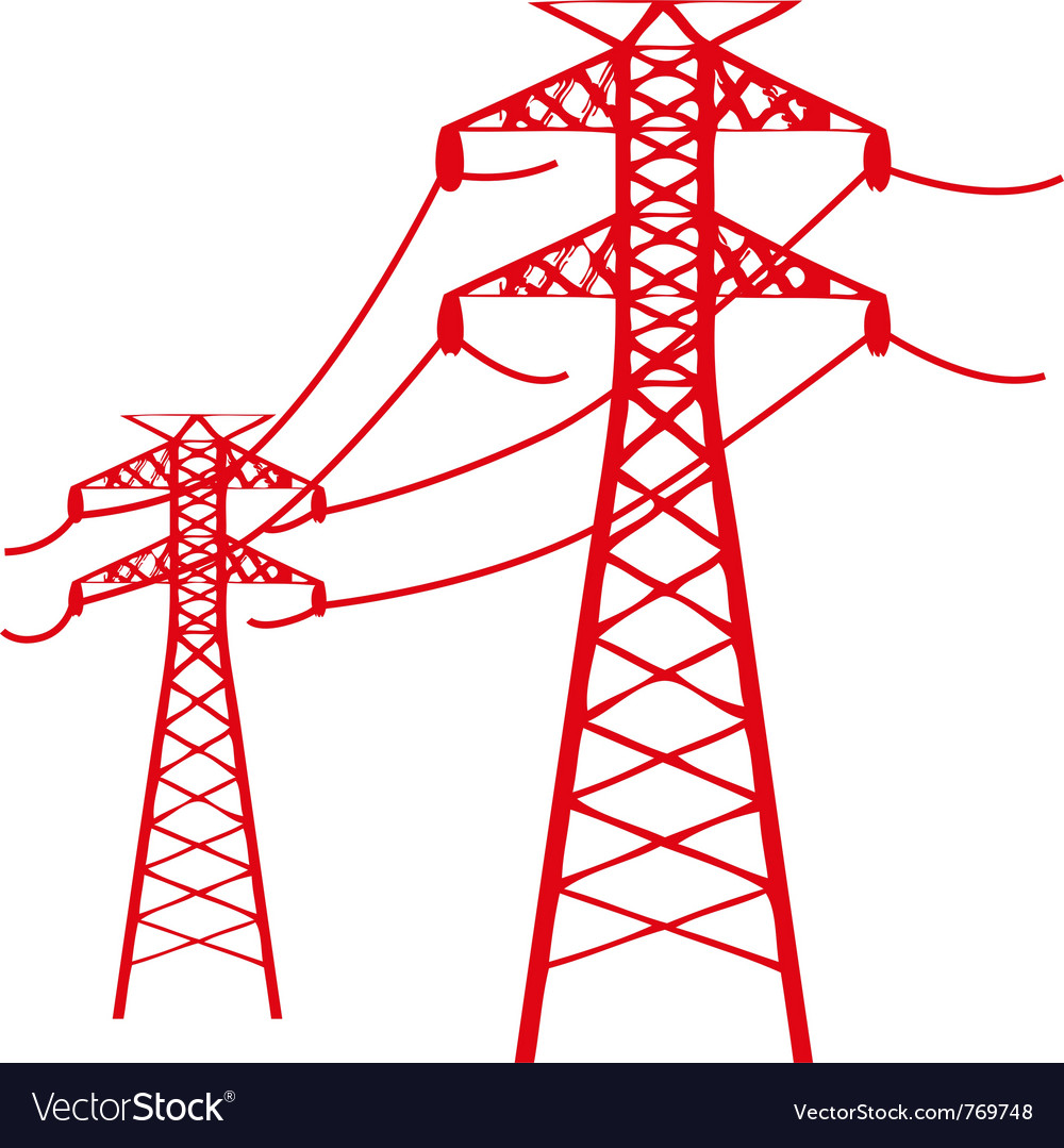 Power lines connected vector