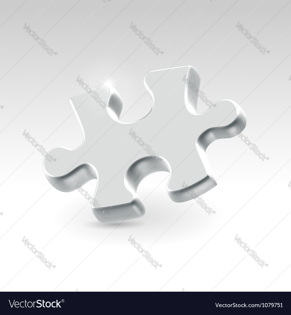 Silver jigsaw puzzle piece vector