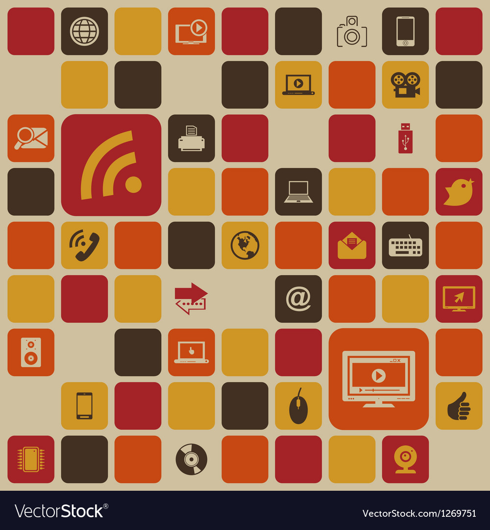 Social media retro background vector