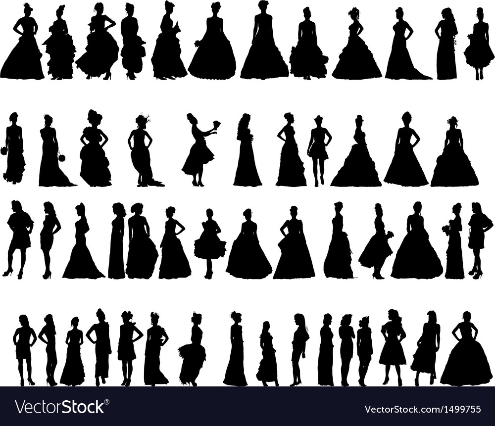 Women silhouettes in various dresses vector