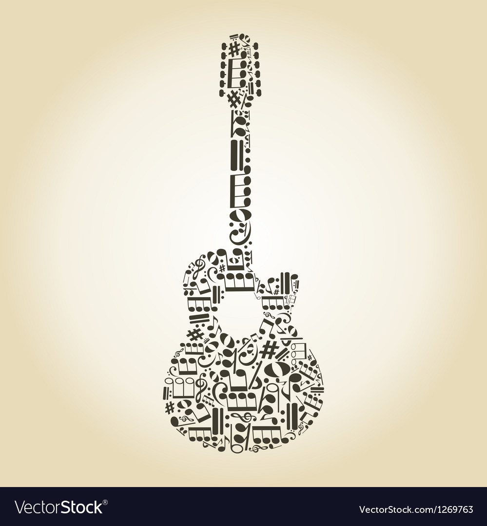 Guitar from notes vector