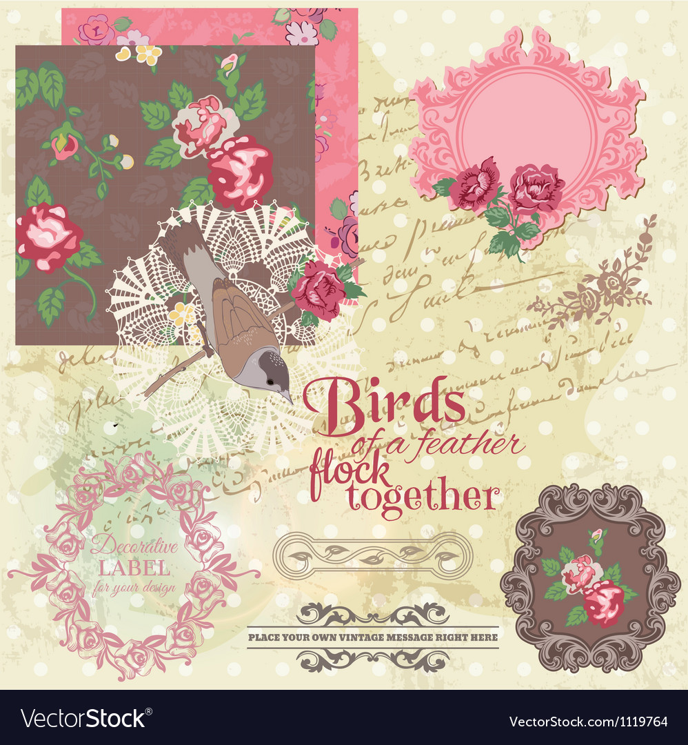 Scrapbook design elements - vintage flowers and bi vector