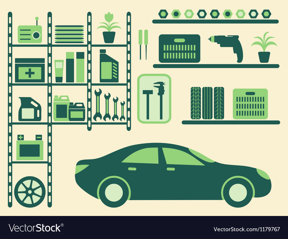 Garage interior and objects silhouettes set vector