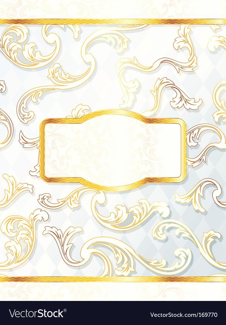 Beautiful vertical rococo wedding label vector