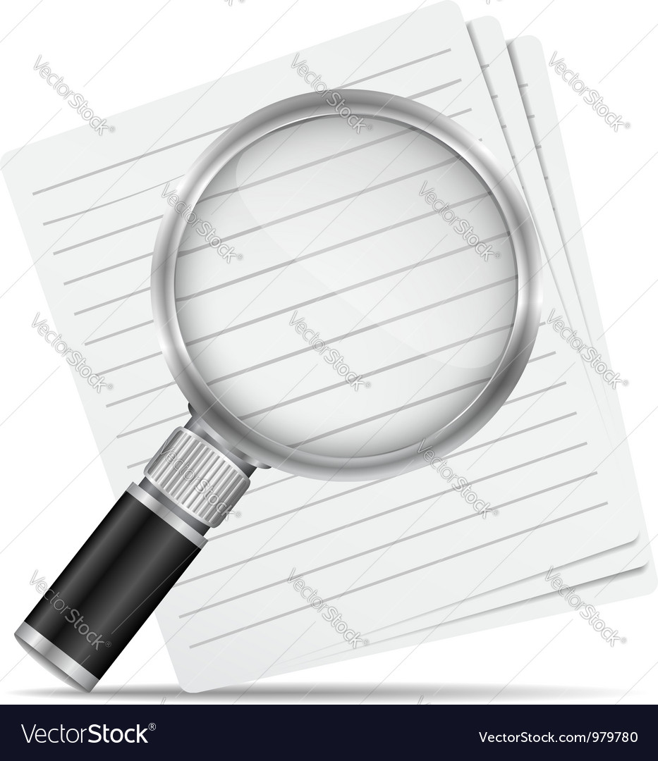 Magnifying glass with abstract paper documents vector