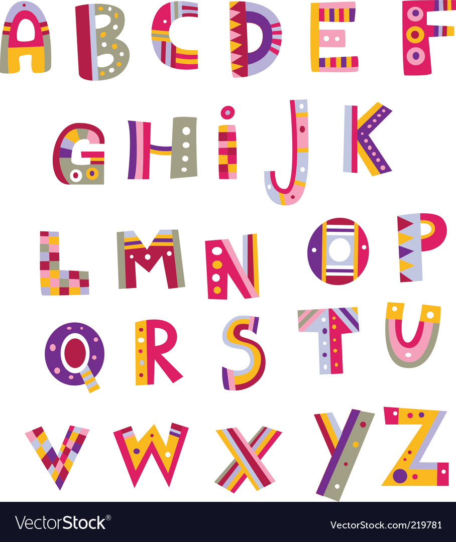 Whimsical alphabet vector by ladybuggy image 219781 vectorstock