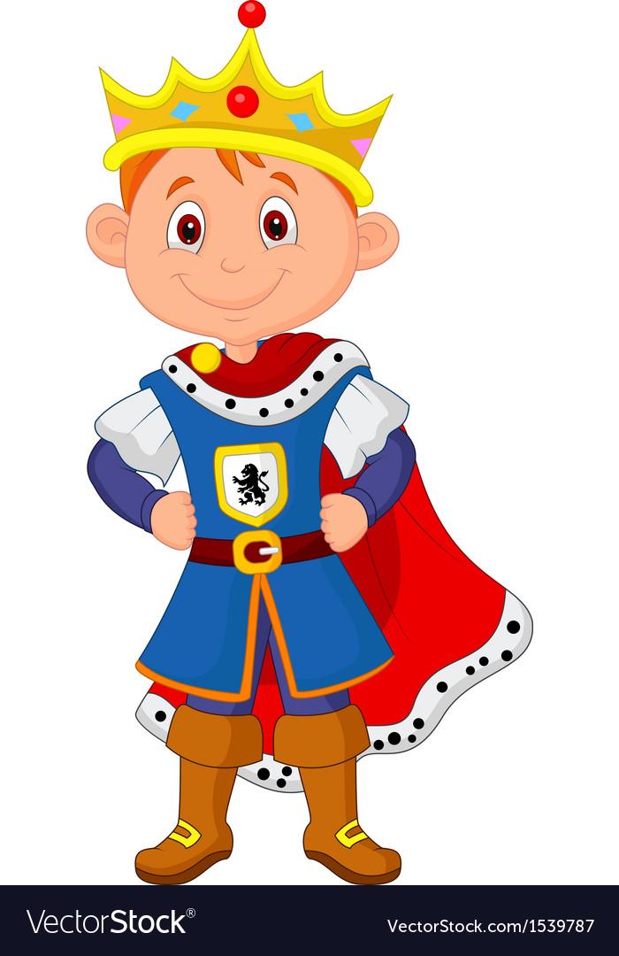 Kid cartoon with king costume vector