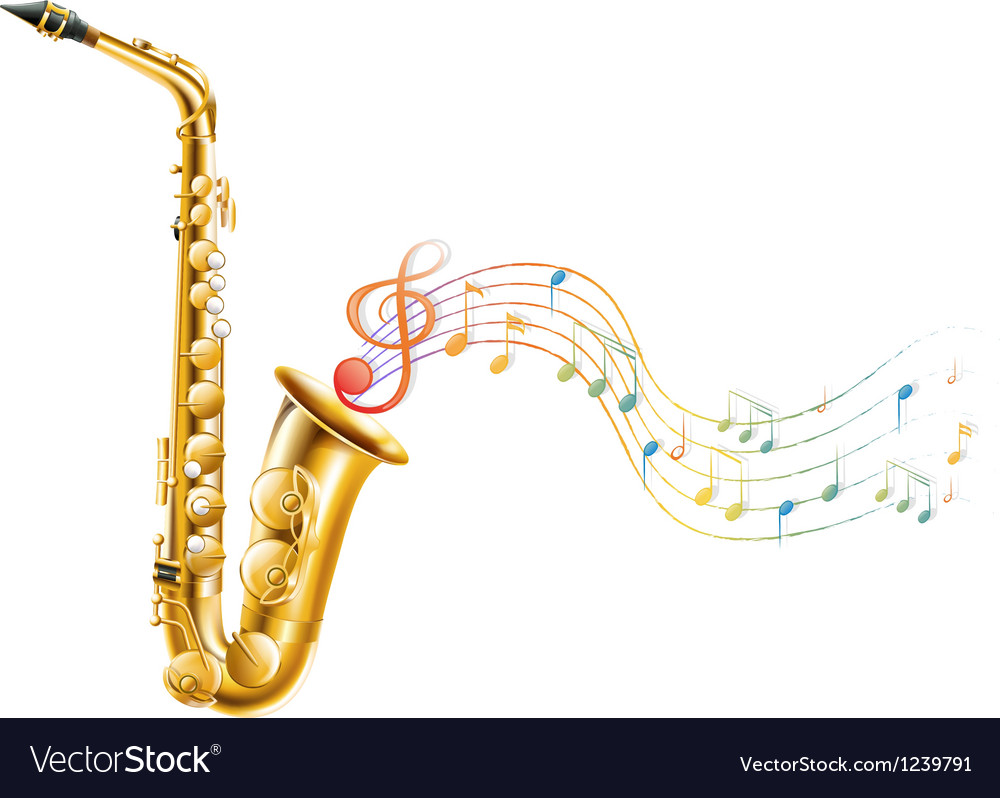 A golden saxophone with musical notes vector