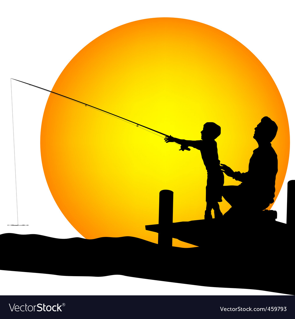 Child and man silhouettes fishing vector
