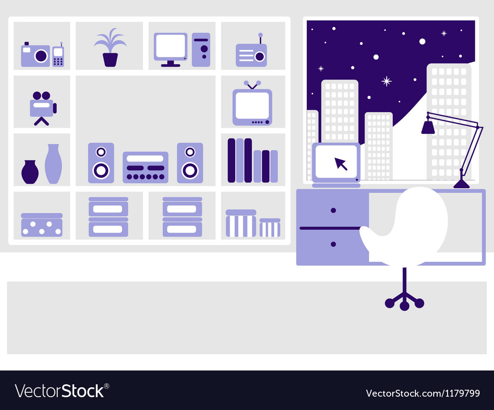 Modern flat interior on the night city vector