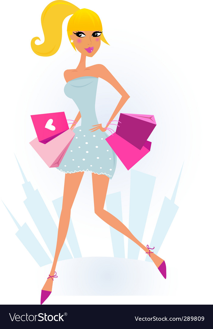 Shopping girl in the city vector