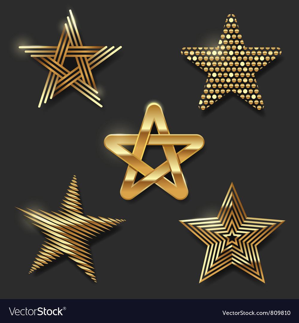 Set of golden decorative stars vector