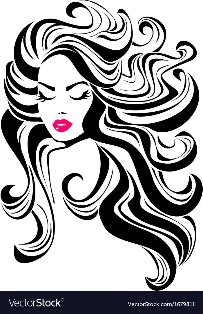 Vintage woman face fashion and hair icon vector by gracjanna44 image