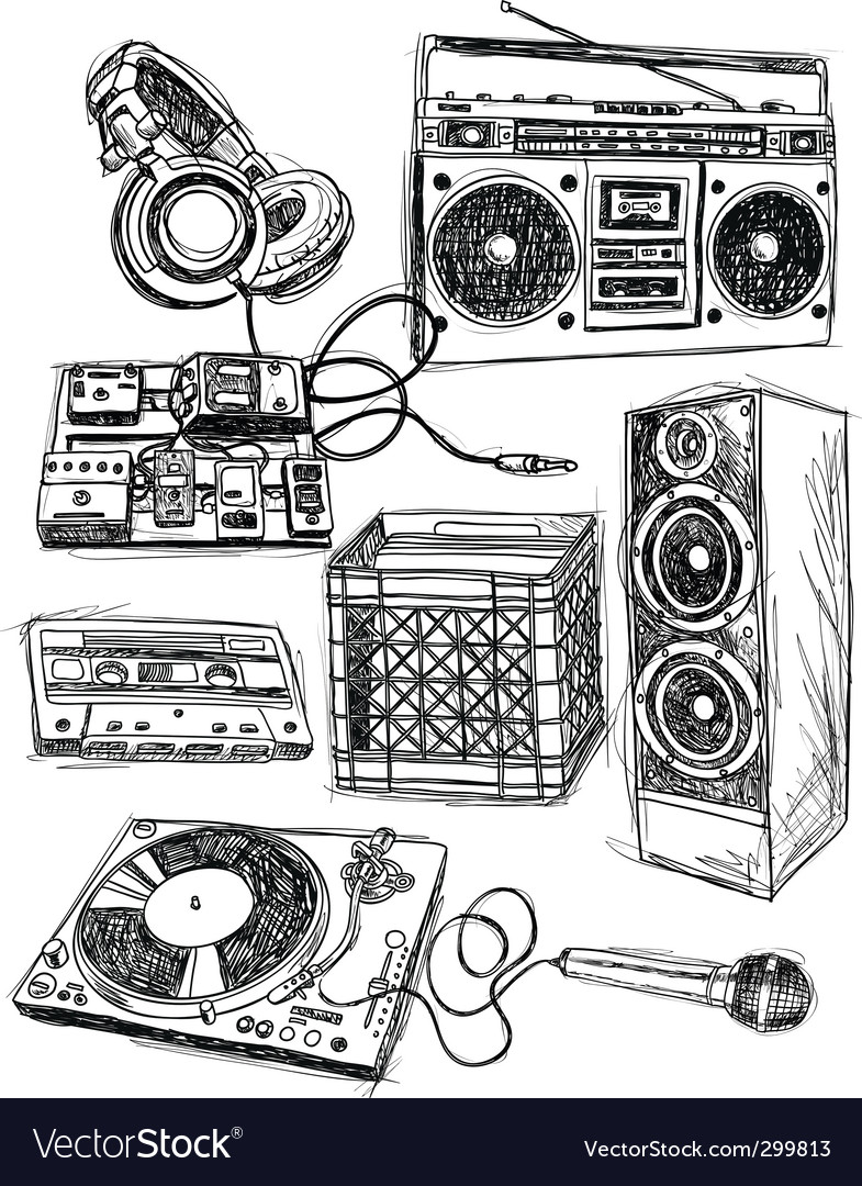 Sketchy music elements vector