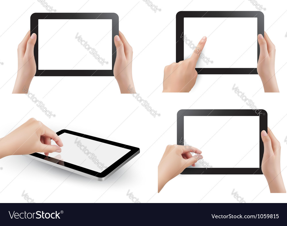 Set of tables with hands vector