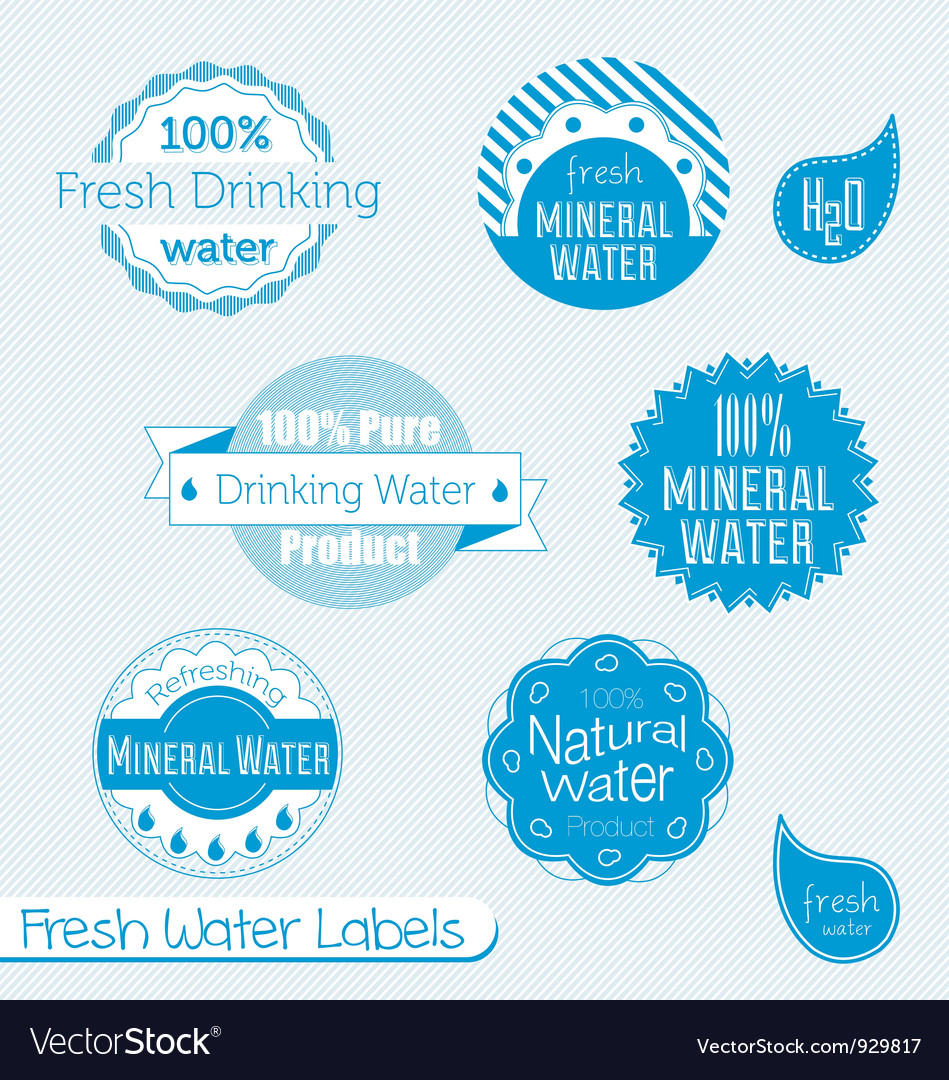 Water labels set vector