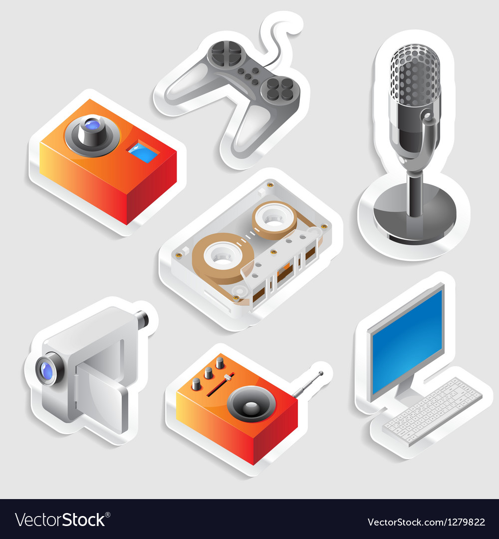 Sticker icon set for entertainment devices vector