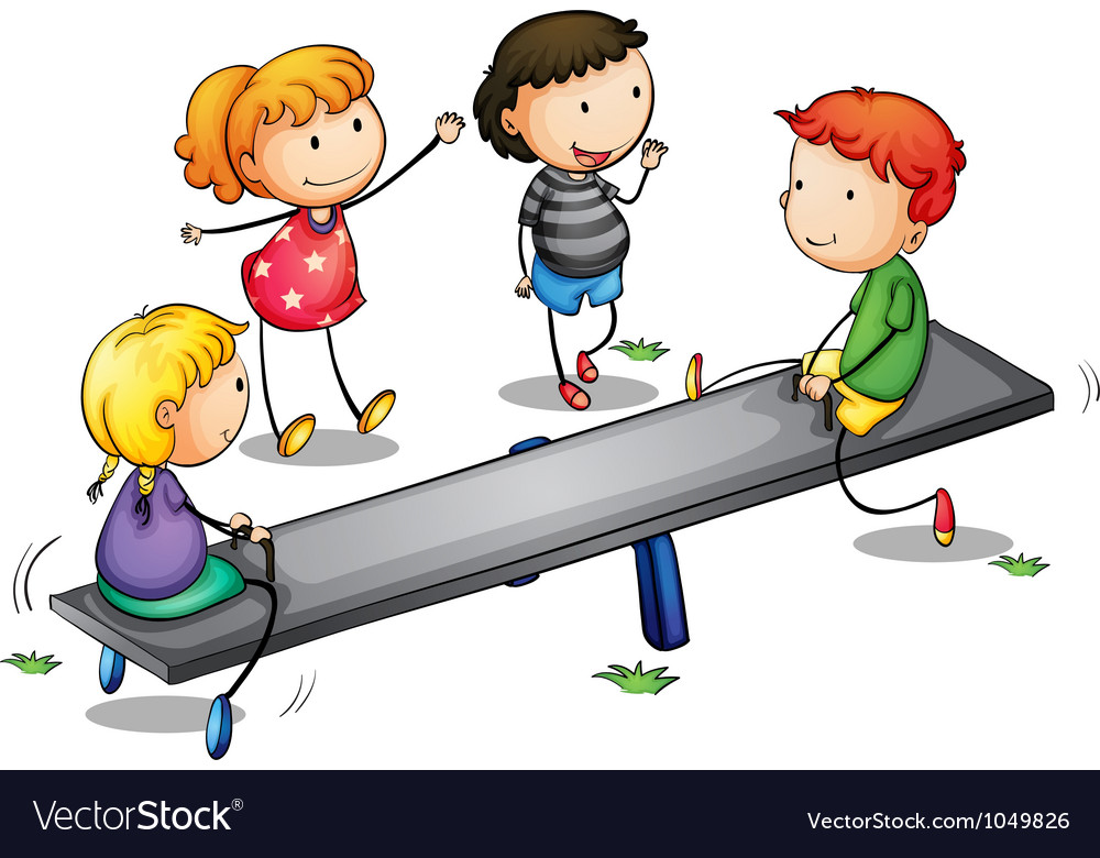 Seesaw kids vector