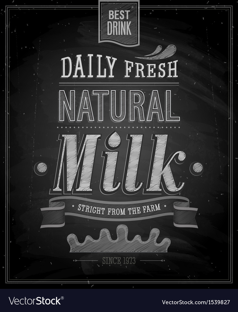 Natural milk chalk vector