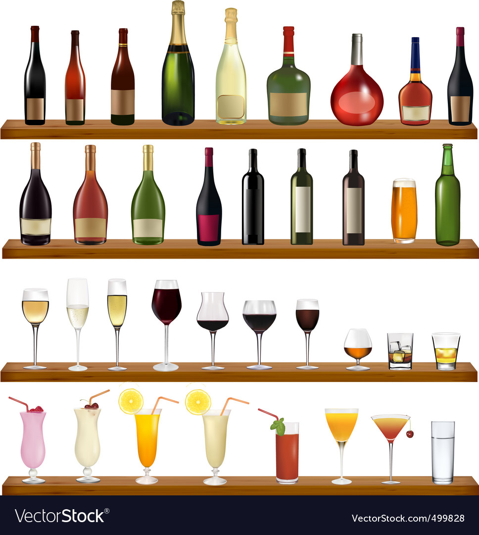Free bottles and glasses vector