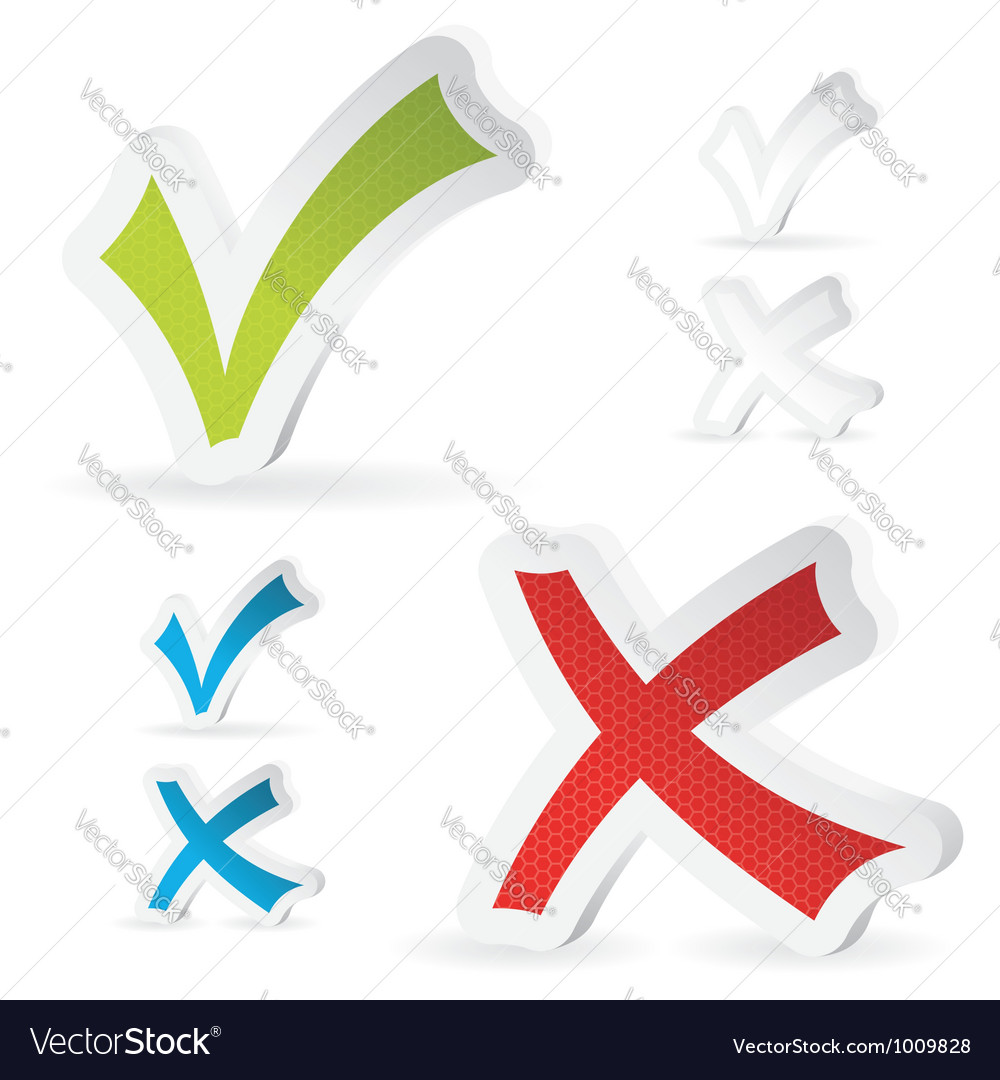 Check marks stickers vector